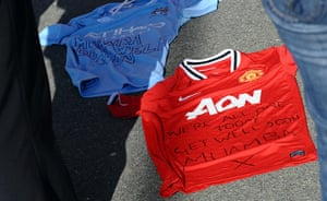 Muamba get well messages: United and City shirts