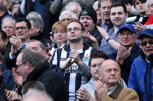 Newcastle fans applause: Newcastle fans join in with the minute's applause for Fabrice Muamba