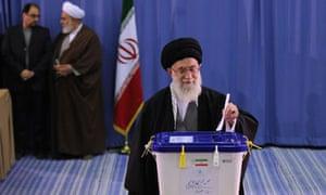 Iran's supreme leader, Ayatollah Ali Khamenei, casting his ballot in Tehran