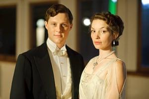 Titanic: Harry Widener played by Noah Reid and Georgiana Grex played by Pedita Weeks