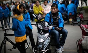 Chinese factory workers on strike