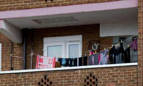 Washing hanging on balconies in a block of flats