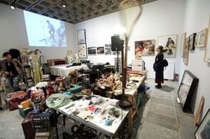 Whitney Biennial: A visitor views Dawn Kasper's installation