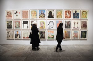 Whitney Biennial: Visitors view Nicole Eisenman's mixed media monotypes