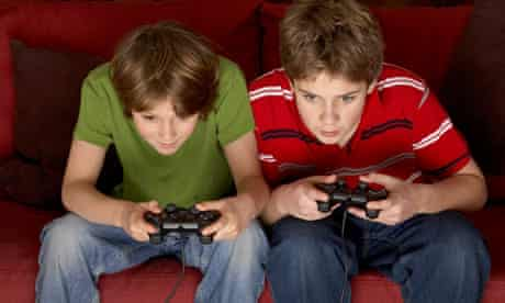 Teenagers teenage boys playing computer games