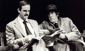 John Cleese and Peter Cook in a sketch at the 1979 Secret Policeman's Ball for Amnesty
