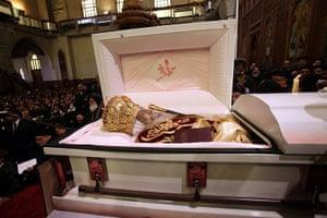 Pope Shenouda Funeral: The body of Pope Shenouda III is seen in an open casket