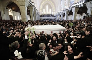 Pope Shenouda Funeral: Pallbearers carry the coffin of Coptic Pope Shenuda III