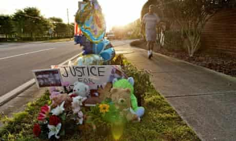 A memorial to Trayvon Martin sits outside The Retreat at Twin Lakes in Sanford, Florida