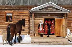 Russia's Eurovision: Members of the singing group Buranovskiye Babushki at a folk museum