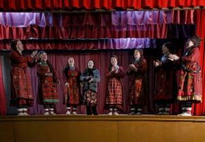 Russia's Eurovision: Members of the singing group Buranovskiye Babushki rehearse