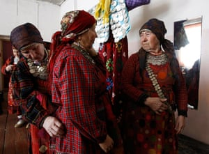 Russia's Eurovision: Members of Buranovskiye Babushki adjust their outfits