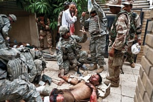Sean Smith open weekend: Iraqi civilians injured by an explosion at a bomb factory