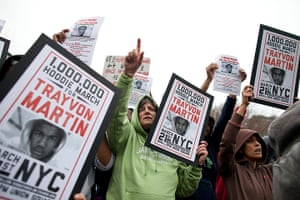 Trayvon Martin march: People hold up signs during the protest in Union Square