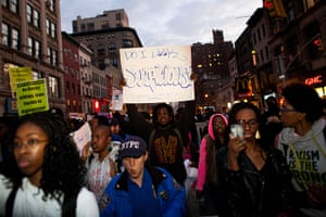 Trayvon Martin march: Demonstrators march after a rally for Trayvon Martin