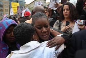 Trayvon Martin march: Sybrina Fulton, mother of slain teenager Trayvon Martin, hugs a supporter