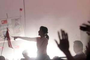 24 hours: Rangoon, Burma: Opposition leader Aung San Suu Kyi addresses supporters