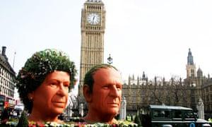 Big Ben heads of the Queen adn Philip