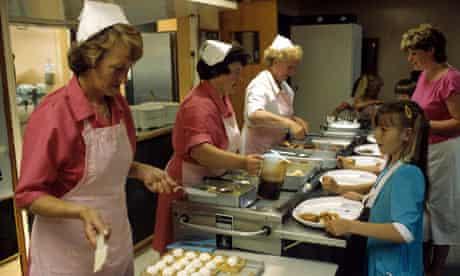 School dinner ladies serve lunch, 1986