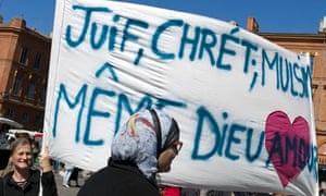 Banner protesting Toulouse shootings, March 2012