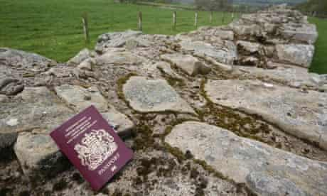 A passport on Hadrians Wall on the Scottish border