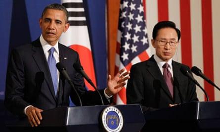 Barack Obama with Lee Myung-bak