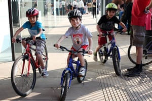 Guardian Open Weekend: Children arrive on bicycles for the open weekend