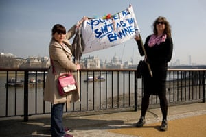 Placard gallery: Youth workers Laurice O'Sullivan (left) and Julia Wall