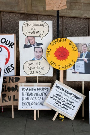 Placard gallery: NHS REFORM BILL? NO THANKS.