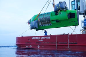 James Cameron: Deepsea Challenger being lowered into the water