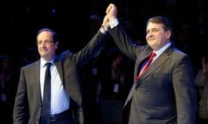 Francois Hollande with Sigmar Gabriel