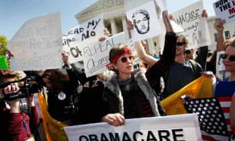 Tea Party demonstrators outside the supreme court