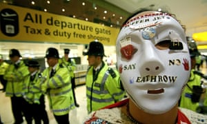 Protester at Heathrow airport