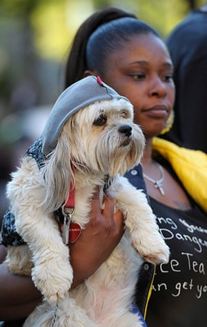 Trayvon Martin marches: A dog wearing a hoodie is held by owner during a rally in Atlanta