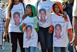 Trayvon Martin marches: Children wearing hoodies in solidarity march together  in Sanford, Florida