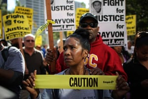 Trayvon Martin marches: Trina Harrison and her husband participate in a rally in Los Angeles