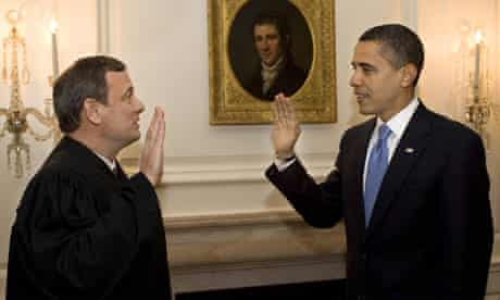 Chief Justice John Roberts taking Obama's oath of office, 2009