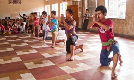 Dancers from the Children of Bassac troupe rehearse the krama dance.