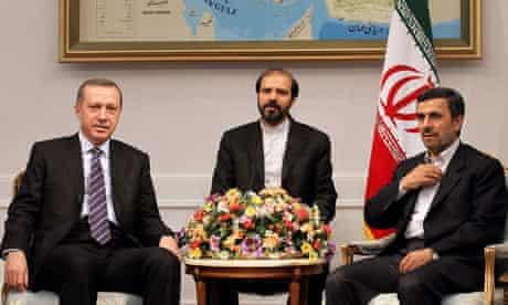 Iranian president Mahmoud Ahmadinejad meets with Turkish PM Recep Tayyip Erdogan in Tehran