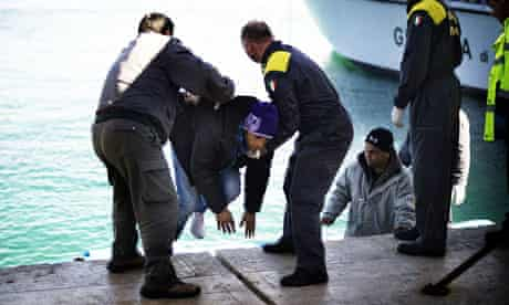 Italian coastguards at Lampedusa