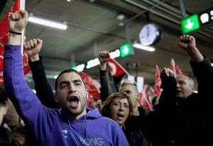 Spain strikes: Madrid: Protesters at Atocha Train Station