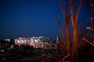 Tornado Updated: Henryville High School is seen damaged after a tornado in Indiana
