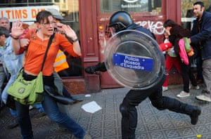 Barcelona: A riot police officer