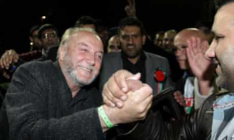 George Galloway celebrates winning the Bradford West by-election
