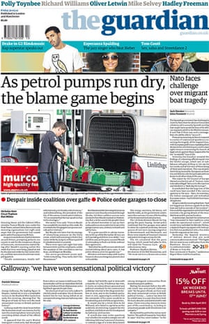 Fuel front pages: The Guardian