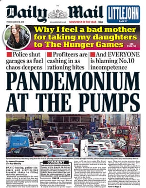 Fuel front pages: Daily Mail