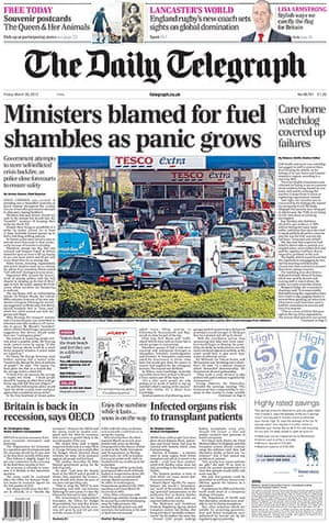 Fuel front pages: Daily Telegraph