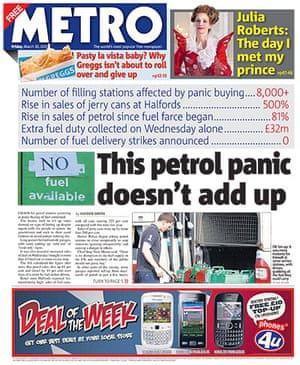 Fuel front pages: Metro