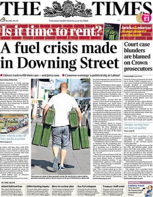 Fuel front pages: The Times