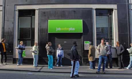 People queue outside a job centre